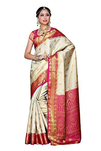 Seide Saree (Traditionelle Indische Saris Stil Frauen traditionelle Kunst Seide Saris Kanjivaram Stil mit Bluse Farbe: Off White)