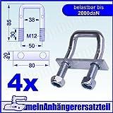 4er Pack U Bügel 150° abgewinkelt 2000 daN als Zurröse für Spanngurte 2000kg 2t Spanngurt