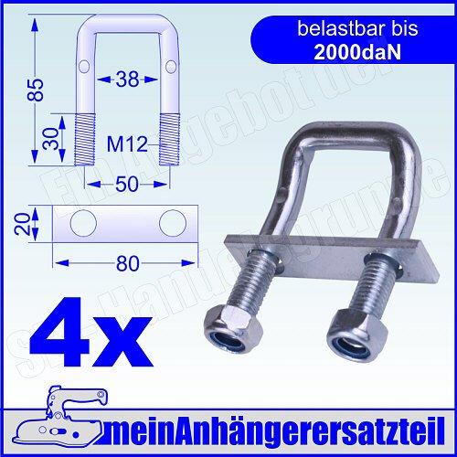 Preisvergleich Produktbild 4er Pack U Bügel 150° abgewinkelt 2000 daN als Zurröse für Spanngurte 2000kg 2t Spanngurt