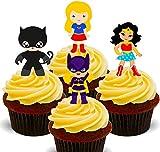 Superheroínas - Cobertura para cupcakes comestible- Decoración para tartas en oblea comestible , 12 unidades