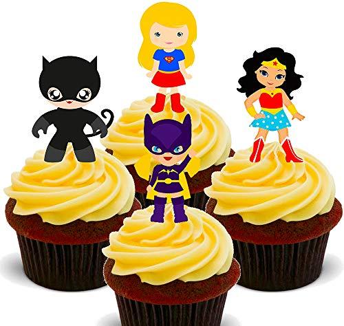 Torten-, Cupcake-Dekoration - Superheldinnen-Motive, essbar, Essoblaten zum Aufstecken, 12er-Pack -