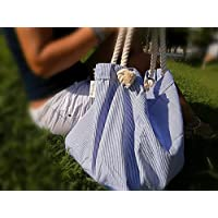 Bolso grande de playa, Bolsa de rayas azul marino, rayas azules, totalizador,