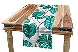 ABAKUHAUS Grünes Blatt Tischläufer, Tropische Palme, Esszimmer Küche Rechteckiger Dekorativer Tischläufer, 40 x 180 cm, Meeresgrün Weiß Teal