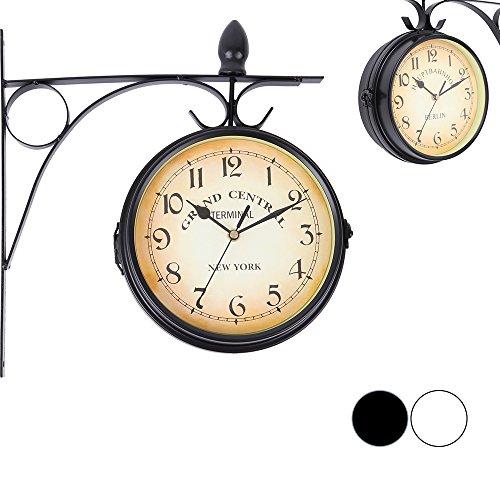 Iglobalbuy doppelseitige Wanduhr,Europäische Stil beidseitige Wanduhr Bahnrofsuhr Gartenuhr für die Befestigung im Außenbereich (Schwarz)