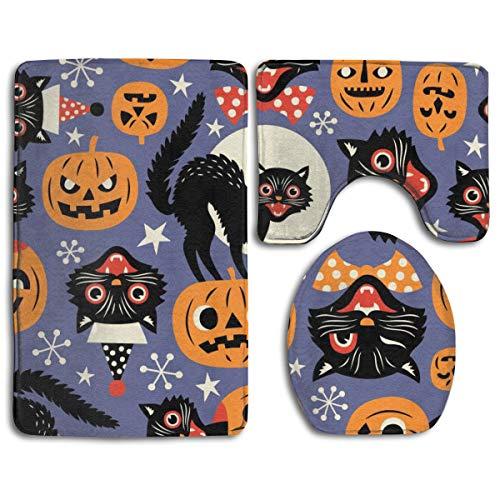 DDHHFJ Bath Mat+Pedestal Mat+Toilet Seat Cover 3 Piece Set Non Slip Bathroom Rug Mat,Vintage Spooky Cats and Halloween Pumpkins Seamless Vector Pattern On Purple Background,Anti-Slip Mat