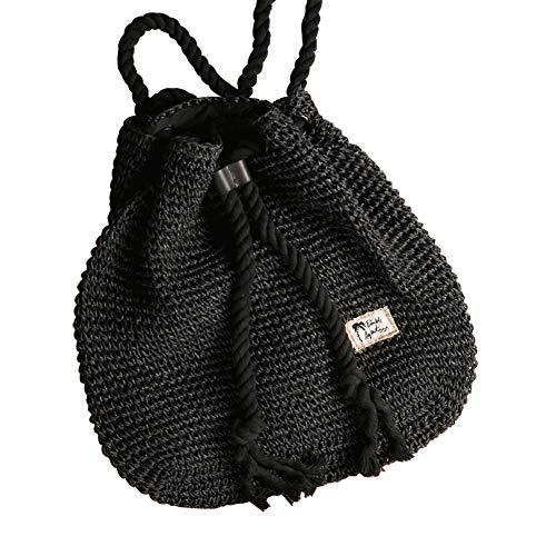MoGist Strohtasche Damen Stilvoll Einfarbig Einfarbig Rucksack Handgemacht Rattan Sommertasche Strandtasche Straw Bag (Schwarz) Rattan-rucksack