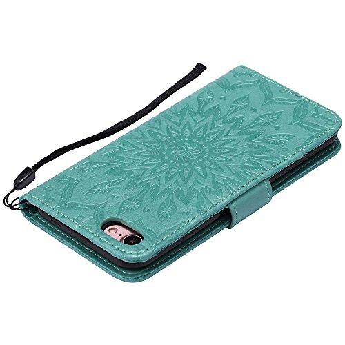 Custodia iPhone 8, cmdkd Wallet Custodia Bumper per iPhone 8. (Porpora) Verde