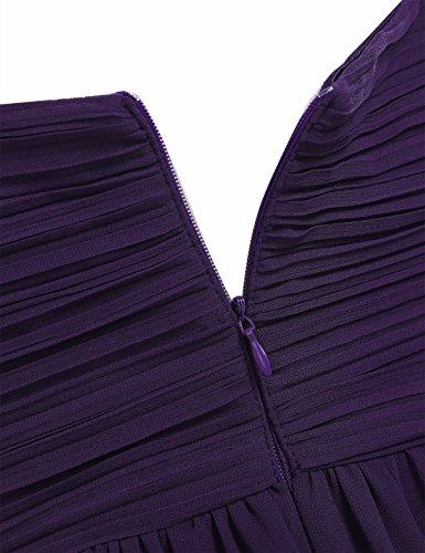 bb1e887f895 ... FEESHOW Damen Kleider Elegant Gefaltet Lang Chiffon Abendkleider  Festlich Hochzeit Party Cocktail Kleider Sommer Dunkel Lila
