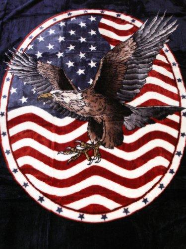 USA KUSCHELDECKE Tagesdecke Decke mit ADLER - WAPPEN 160x200cm (Wappen Bettdecke)