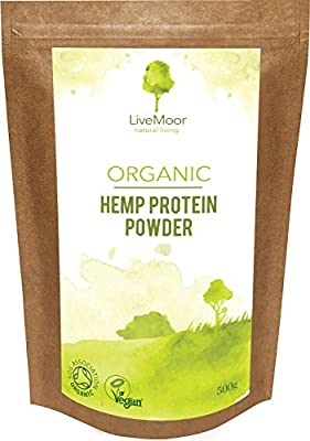 LiveMoor Organic Hemp Protein Powder - 500g - Soil Association Certified Organic by LiveMoor