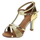 POLP Sandalias de Vestir Mujer de Danza Zapatos Tacón Bajo Cómodo Moda para Mujer Waltz Prom Ballroom Zapatos de Baile Latino Sandalias Correa de Tobillo Plata Dorado 34-41 (3Gold, Size:38)