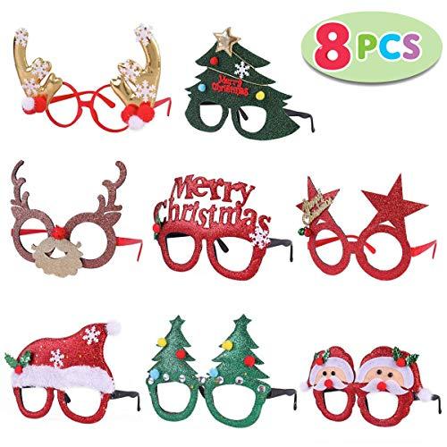 JOYIN 8 Stück Weihnachtsfeier Brillengestell mit 8 Designs, Weihnachten Brillen Rahmen für Weihnachtsfeiern, Weihnachtsdekorationen und Fotostudio (EINHEITSGRÖßE FÜR ALLE)