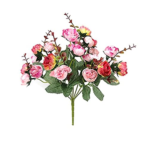 1 Piece 21 Head Artificial Rose Silk Flower Leaf Home Party Wedding Decor (Rose Red)