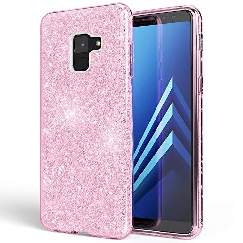 NALIA Hülle kompatibel mit Samsung Galaxy A8 (2018) Glitzer Handyhülle Ultra-Slim Silikon Case Back-Cover Schutzhülle, Glitter Handy-Tasche Bumper, Dünnes Bling Phone Etui, Farbe:Pink