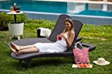 Keter Pacific Rattan Outdoor Adjustable Sunlounger Garden Furniture Set  - Graphite