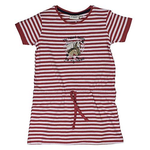SALT AND PEPPER Mädchen Kleid Dress Horses Stripes, Rosa (Raspberry Melange 871), 128 (Herstellergröße: 128/134) (Glitzernden Kleid Mädchen)