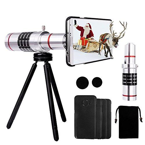 Samsung Kamera objektiv Lens Set - Yarrashop 18X phone Zoom Aluminium Teleobjektiv + Universal Phone Halter + Mini Stativ+ Phone Samttasche + Reinigungstuch + Schutz-Fall für Samsung GALAXY s6 / s6 edge / s7 / s7 edge