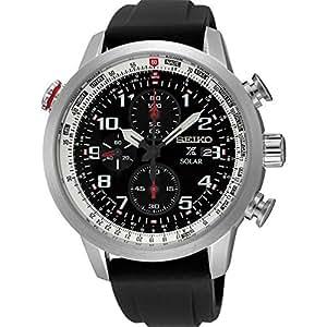 Seiko - SSC351P1 - Montre Homme - Quartz - Chronographe - Chronomètre - Solaire - Bracelet Silicone noir