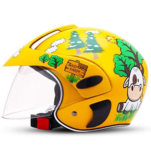 ZXW casco- Formato regolabile della ragazza del ragazzo di stagioni del fumetto della bicicletta della bicicletta elettrica del casco dei bambini (Colore : Giallo-10.6'x8.3'x7.9')