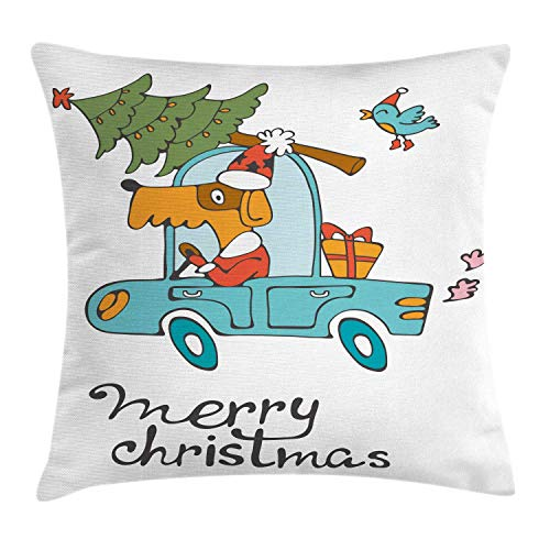 DDOBY Weihnachten Dekokissen Kissenbezug, Blauer Vintage Auto Hund Fahren mit Santa Kostüm niedlichen Vogel Baum und Geschenk vorhanden, dekorative quadratische Akzent Kissenbezug, weiß Multi