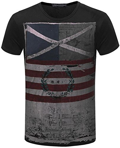 jeansian Herren Casual Slim Fit Short Sleeves Summer Short Sleeve Jack Flag T-Shirt Men Designer Shirt Tops AMA002 Black S [Apparel] (Top Flag-shirt)