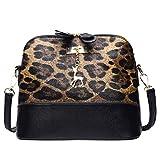TianWlio Damen Klassische Handtasche Leopardenmuster Umhängetasche Fawn Anhänger Shell Umhängetasche Messenger Taschen Handtasche Winged Schultertasche Groß Umhängetasche Taschen