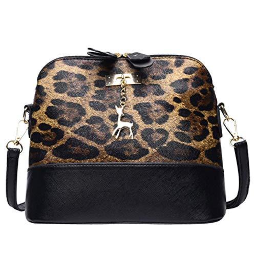 Dorical Umhängetasche Damen Vintage Leopard Messenger Tasche Mädchen mit Verstellbarem und abnehmbarem Schultergurt, Handtasche Umhängetasche Schultertasche Shopper Henkeltasche(Khaki)