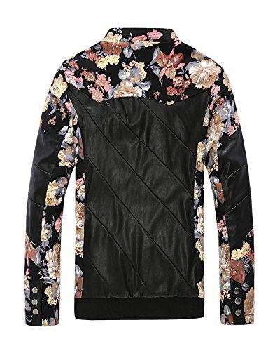 Highdas New Fashion Men PU-Lederjacke beil?ufige d¨¹nne Blumen Splicing PU Coat Schwarz/Rot Blume