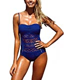 YeeHoo Costume Mare da Donna Trikini Costume in Pizzo Costume Intero Push up Bikini Bohemian Costume da Bagno Sexy Swimsuit One Piece Coordinati Beachwear