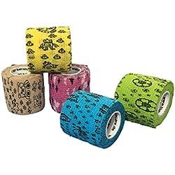 Toppe per bambini LisaCare autoadesive - gesso elastico, resistente all'acqua, alla polvere e sporco - motivi colorati - 5 rotoli da 5 cm x 4,5 m (5 cm)