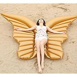 Casa jardín de alas de ángel flotador gran flotador hinchable para fiestas de piscina juguete hinchable de verano juguete fiestas piscina Talla:: 250* 180peso Supporté: 250kg, dorado, 250*180cm