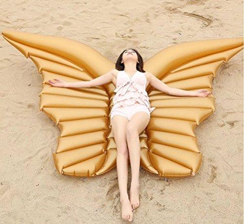 Maison jardin grande salvagente gonfiabile a forma di ali d'angelo per feste in piscina, gioco gonfiabile estivo, dimensioni: 250x 180,peso supportato: 250 kg, oro, 250*180cm