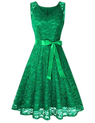KoJooin Damen Vintage Kleid Brautjungfernkleid Knielang Spitzenkleid Cocktailkleid Grün M (Grün Floral Kleid)
