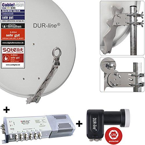"""DUR-line 12 Teilnehmer Set - Qualitäts-Alu-Sat-Anlage """"DVB-T2 Alternative"""" """"DVB-T2 Alternative"""" - Select 75/80cm Spiegel/Schüssel Hellgrau + DUR-line Multischalter + LNB - Satelliten-Komplettanlage - für 12 Receiver/TV [Neuste Technik - DVB-S/S2, Full HD, 4K/UHD, 3D]"""