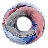 ZQY Glitzer Damen Sommer Loop Schal mit Streifen Farbverlauf Muster,Schlauchschal,Tuch,Glitzerschal