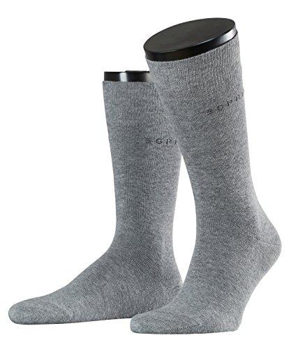 ESPRIT Herren Socken Basic Uni 2-Pack, 80% Baumwolle, 2 Paar, Grau (Light Grey Melange 3390), Größe: 43-46 -