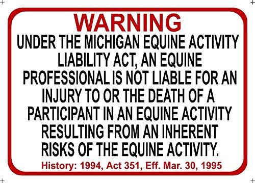 Tiukiu Michigan Equine Sign Activity Liability Warning Statute Horse barn Stable (Michigan Band)