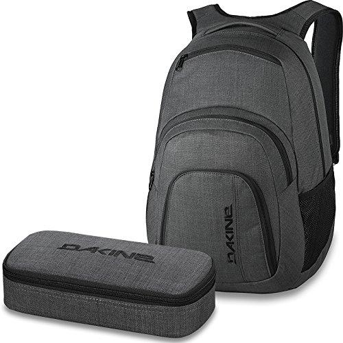 DAKINE 2er SET Laptop Rucksack CAMPUS LG + SCHOOL CASE Mäppchen Carbon