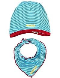 loud + proud Jungen Schal & Handschuh-Set Mütze + Tuch Blau (Aqua Aq), 51 (Herstellergröße: 98/104)
