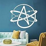 Atom Symbol Science Lab Adesivo Aula Scuola Chimica Laboratorio Scienza Adesivo da parete Vinile arredamentoazioni per la casa 63x56cm bianco