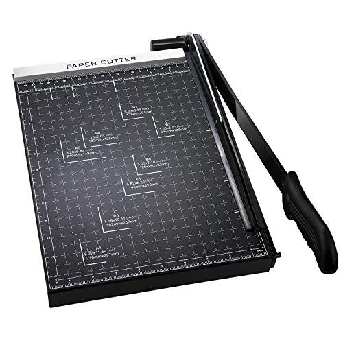 COOCHEER Massicot A4 Cisaille Personnelle 12 Feuilles 30,5 cm pour Office Bureau, Noir