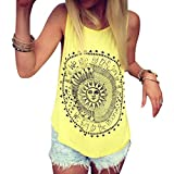 Tops Oberteile,Jaminy Frauen Sun Printed Bluse Sleeveless Weste T-Shirt Bluse Casual Tank Tops (Gelb, L)
