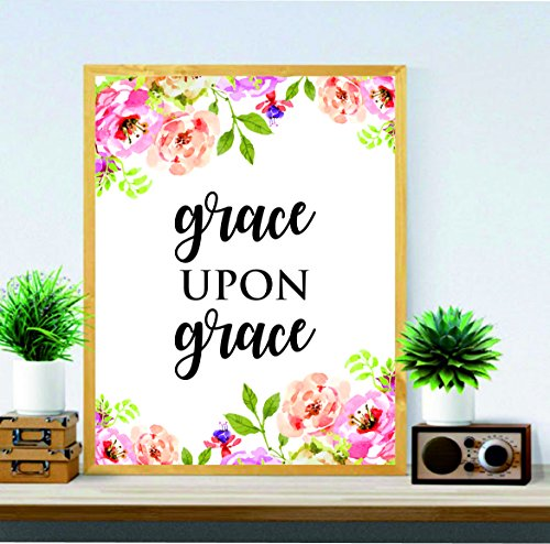 Christian Wand Kunst – John 1: 16 – Grace, auf Grace – Art Wand – Religiöse Kunst – Home Decor – Watercolor Print Kunstdruck – Kalligraphie-Zitat, Bibel Vers – Grace Print # WP # 28