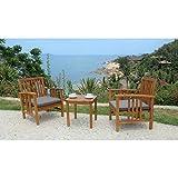 Générique Salon de Jardin 2 Places - 1 Table et 2 fauteuils - en Bois d'acacia - 45x45x45cm