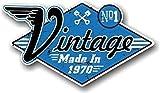 Retro Verzweifelt Im Alter Jahr Datiert Design mit ' VINTAGE HERGESTELLT IN 1970 ' Slogan Neuheit Vinyl Auto Motorrad Helm Aufkleber Abziehbild 90x50mm