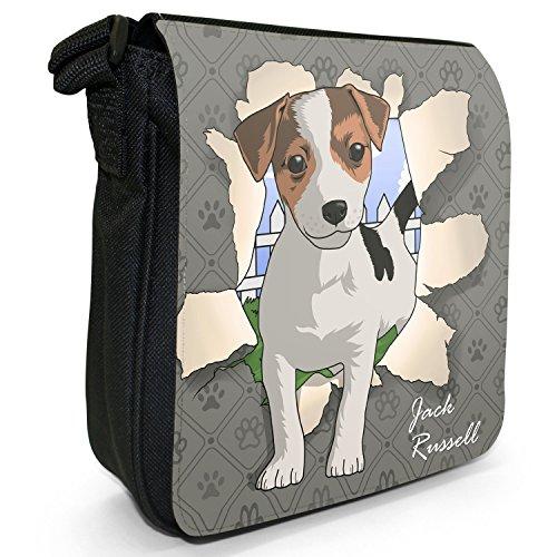 Durchbruch-Hunde Kleine Schultertasche aus schwarzem Canvas Jack Russell bricht durch