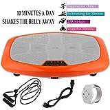 Hiriyt 3D Vibrationsplatte Unisex-Adult Ganzkörper Trainingsgerät rutschfest, einmaligen Curved Design, Color Touch Display, inkl. Trainingsbänder, Fernbedienung (Einzelmotor_Orange)