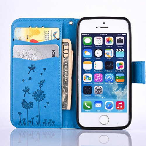 iPhone 5 SE 5S Custodia in pelle,iPhone 5S Cover Portafoglio Elegante,Felfy Puro Colore Premium Simpatico Panda Stampato Modello Copertura di Vibrazione pelle a Libro Bookcase Pieghevole pelle Cover c Dandelion Blu