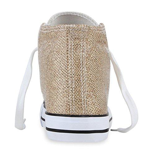 Damen Sneakers High Freizeit Glitzer Turnschuh Sportliche Schuhe Gold Weiss