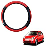 #6: Vheelocityin Black and Red Car Steering Cover for Chevrolet Spark / Chevrolet Spark Steering Wheel Cover